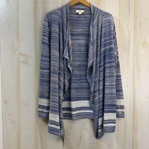 LOFT Blue Gray Open Cardigan Sweater XL Cotton